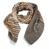 ARMANI COLLEZIONI條紋拼色絲薄圍巾(灰橘色)102802-3