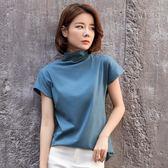 2019新款春裝純棉短袖T恤女寬鬆大碼半袖純色半高領打底衫T桖上衣QM 莉卡嚴選