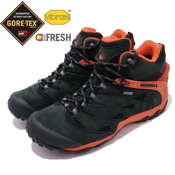 Merrell 戶外鞋 Chameleon 7 MID GTX 黑 橘 Vibram大底 健行 登山鞋 男鞋【PUMP306】 ML98281