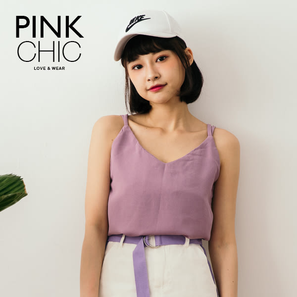 上衣 素面V領細肩帶雪紡上衣 - PINK CHIC - 13152