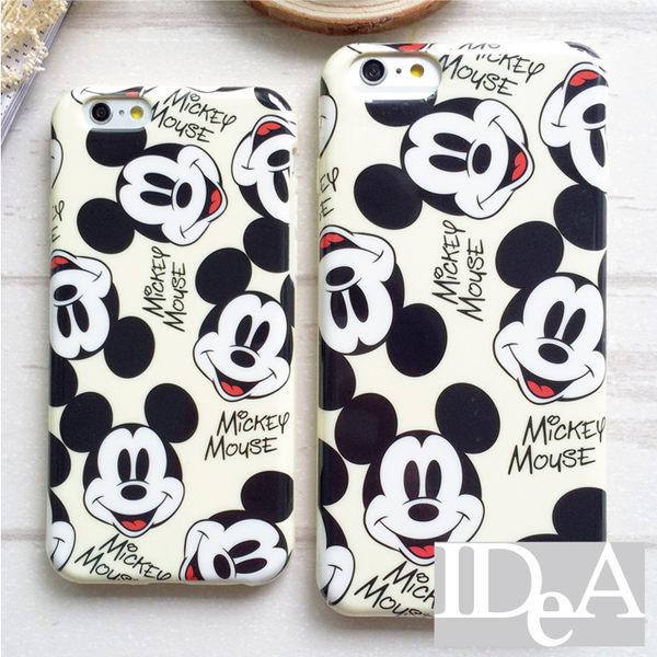 迪士尼 iPhone6/Plus 米色滿版米奇頭TPU手機保護套 軟殼 Disney 米老鼠 蘋果六代 4.7 5.5吋