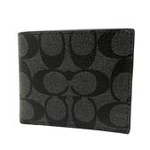 【COACH】C LOGO皮革6卡照片男款短夾(黑灰)