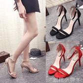高跟涼鞋歐美一字帶扣細跟涼鞋女黑色高跟鞋絨面百搭露趾女鞋 全館免運