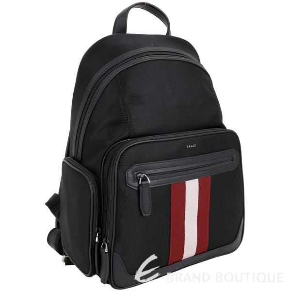 BALLY CHAPMAY 紅白條紋多功能厚磅帆布後背包(黑色) 1840251-01