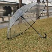 MG 長柄傘-骨透明雨傘小清新直長柄傘