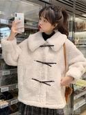 保暖外套女-秋裝新款小香風氣質翻領設計感寬鬆加絨加厚長袖棉服外套女裝 喵喵物語