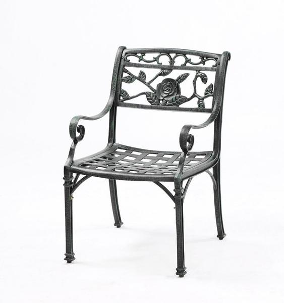 【南洋風休閒傢俱】戶外休閒桌椅系列-玫瑰扶手餐椅 戶外鋁合金餐椅 適民宿 餐廳 (#20301)