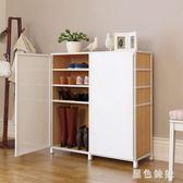 易櫃簡易鞋櫃多層組裝防塵收納櫃大空間經濟型省空間鞋架簡約現代門廳櫃 js8511『黑色妹妹』