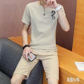 韓版中國風男士棉麻套裝 時尚休閒t恤男裝 帥氣薄款短袖褲裝 CJ4089『易購3c館』