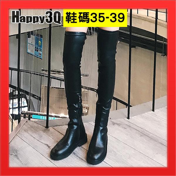 長靴女靴過膝靴側邊拉鍊SHOW GIRL靴子黑靴復古素面黑色靴長筒靴彈力靴-黑35-39【AAA3485】預購