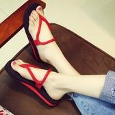 新款時尚人字拖女夏平底涼拖沙灘鞋情侶坡跟外穿防滑厚底拖鞋 居享優品