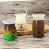 一次性加厚塑料PP耐高溫布丁瓶奶凍冰淇淋杯雙皮奶慕斯杯子帶蓋勺