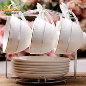 陶瓷咖啡杯歐式套裝家用辦公酒店創意簡約時尚6只咖啡杯碟帶勺子梗豆物語