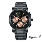 agnes b. 玫瑰金三眼碼表計時日期黑鋼錶 38mm BT3031X1 公司貨|名人鐘錶高雄門市