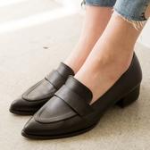 【現貨快速出貨】小皮鞋.MIT簡約知性純色低跟樂福包鞋.白鳥麗子