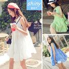 【V0834】shiny藍格子-夏日輕甜.花朵層次裙襬連身背心洋裝