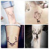 紋身貼麋鹿角小鹿紋身貼防水男可愛動物情侶刺青貼紙手臂手腕持久女 免運直出