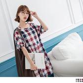 《DA5714-》高含棉配色格子縮口袖娃娃洋裝 OB嚴選