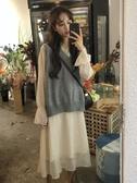 秋裝韓版新款chic純色寬鬆慵懶風個性開叉針織馬甲女時尚套裝 雅楓居