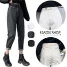EASON SHOP(GW8902)實拍復古水洗丹寧做舊磨白刷毛加絨加厚拉繩收腰牛仔褲哈倫褲休閒褲高腰直筒長褲