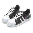 DISNEY 逃跑計畫 叉奇條紋貝殼小白鞋-黑(DW6112+DB6119)贈同款束口袋