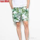 沙灘褲-海邊度假情侶男防水溫泉寬鬆五分褲速干游泳褲 花間公主