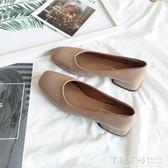 低跟鞋 方頭單鞋女淺口低跟粗跟奶奶鞋復古風裸粉色仙女矮跟上班鞋四季鞋   夢幻衣都