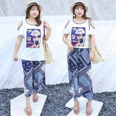 ★韓美姬★中大尺碼~民族風雪紡兩件式套裝(XL~4XL)