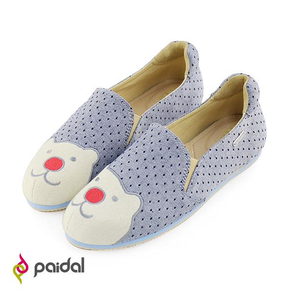Paidal紅鼻熊點點休閒鞋樂福懶人鞋-俏皮灰