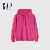 Gap女裝 基本款薄絨休閒連帽休閒上衣 660812-玫紅色