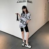 中長款韓版寬鬆字母短袖連帽t恤女2021新款春夏季百搭慵懶范上衣 「雙10特惠」
