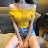 短袖上衣 素色 簡約 一字領 針織衫 短版 短袖 上衣【MY6665】 BOBI  07/05