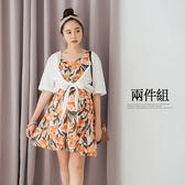 哈韓孕媽咪孕婦裝*【HC4582】兩件式綁結罩衫+夏日花朵棉麻洋裝
