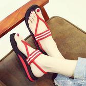 平底涼鞋   涼鞋女夏平底學生簡約羅馬鞋子女士厚底人字拖鞋百搭韓版  瑪麗蘇