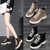 秋冬新款韓版高筒鞋女馬丁靴女網紅同款冬季學生加絨棉鞋百搭女靴