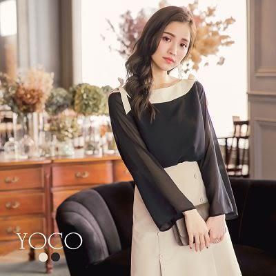 東京著衣【YOCO】法式美人撞色船型領蝴蝶結綁帶上衣-S.M.L(180226)
