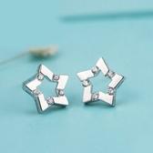 925純銀耳環(耳針式)鑲鑽-經典五角星生日情人節禮物女耳飾73ac8【巴黎精品】