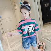 女童夏裝短袖t恤韓版純棉韓版中大童女孩上衣時尚體恤 奇思妙想屋