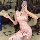 旗袍2019夏季氣質改良版少女中長款開叉旗袍式中國風年輕款連身裙 衣間迷你屋