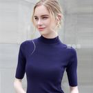 秋裝新款半高領中袖針織衫女歐美套頭五分袖修身緊身打底衫薄 鹿角巷
