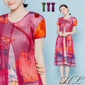 .HL超大尺碼.【17080011】低調奢華彩印網紗短袖長洋裝 6色