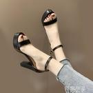 細跟高跟涼鞋 羅馬涼鞋女夏新款韓版百搭ins潮防水台一字帶網紅粗跟高跟鞋 阿薩布魯