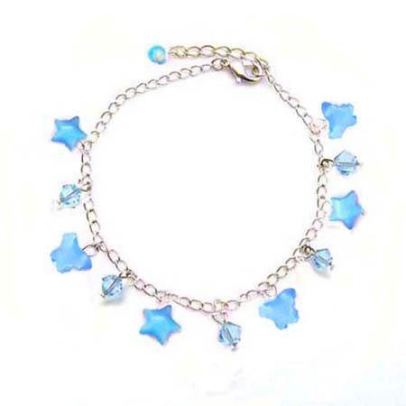 藍色貓眼蝴蝶星星與Swaroski 水晶珠腳鍊