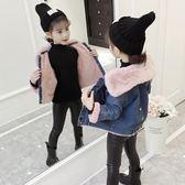 牛仔外套女童加絨外套秋冬裝新款韓版潮兒童洋氣加厚牛仔棉衣女孩童裝走心小賣場