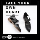 低跟涼鞋 鏤空 ig 歐美質感簡約尖頭低跟牛津鞋 mo.oh (歐美鞋款)
