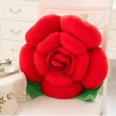 卡通玫瑰花抱枕靠墊 沙發靠墊裝飾花朵抱枕 汽車床頭靠枕靠背WY