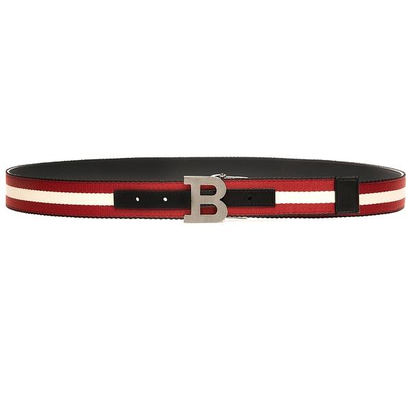 【台中米蘭站】全新品 BALLY 新款 B buckle 35 帆布牛皮雙面用皮帶(6235340-黑)