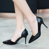 細跟春秋一腳蹬高跟鞋女新款尖頭休閒單鞋子韓版百搭淺口女鞋 可然精品