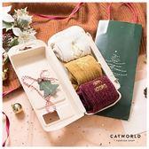 Catworld 交換禮物*燙金刺繡針織堆堆長襪三入組禮盒【18900479】‧F
