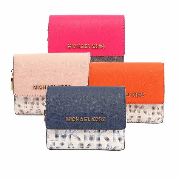 【MICHAEL KORS】PVC LOGO拼色萬用小夾(任選) 35F7GTVD2B
